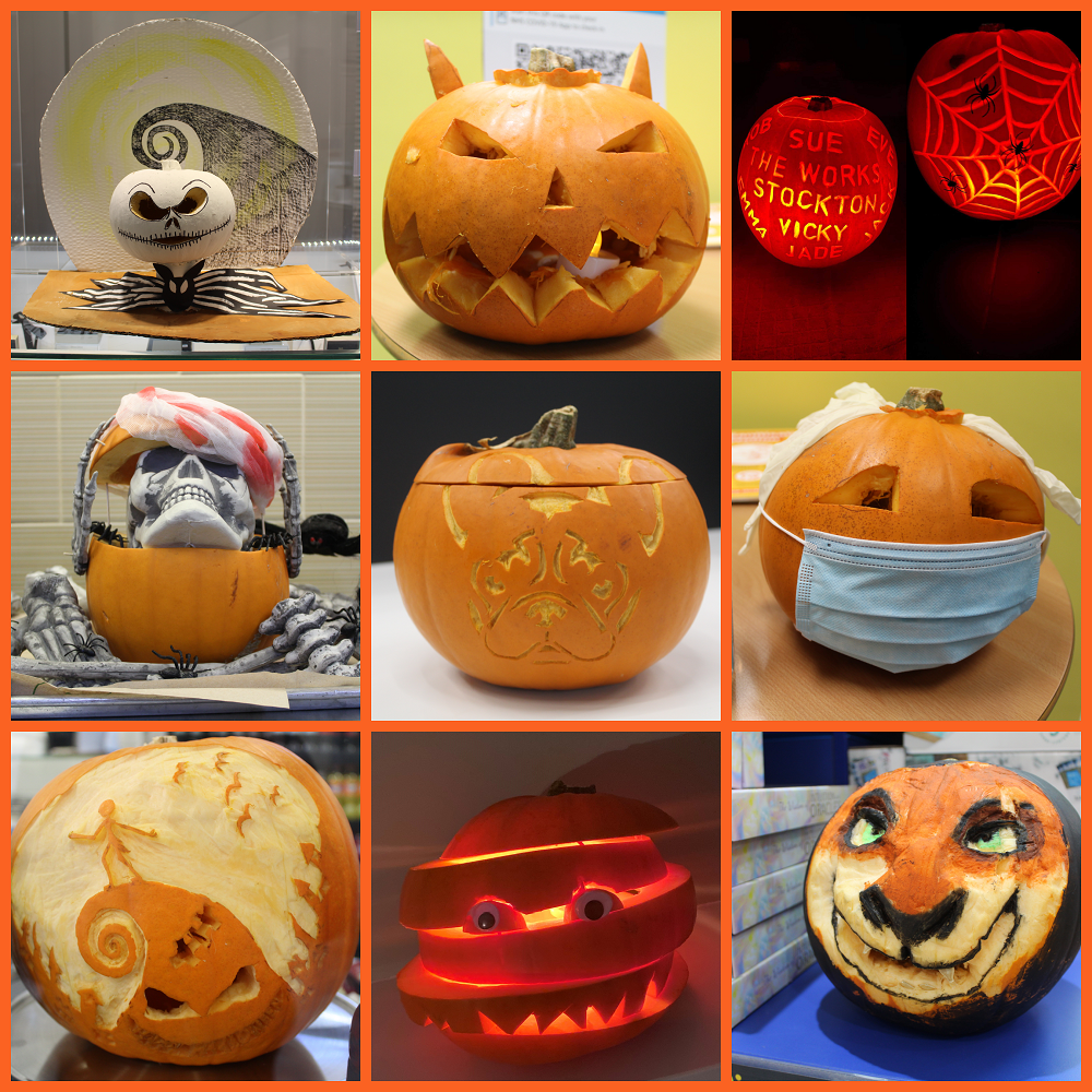 A collage of pictures of carved pumpkins